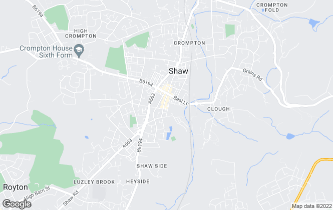 Map for Valentines Estate Agents, Shaw