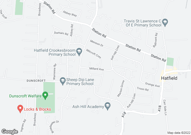 Map for Millard Avenue, Hatfield, Doncaster DN7
