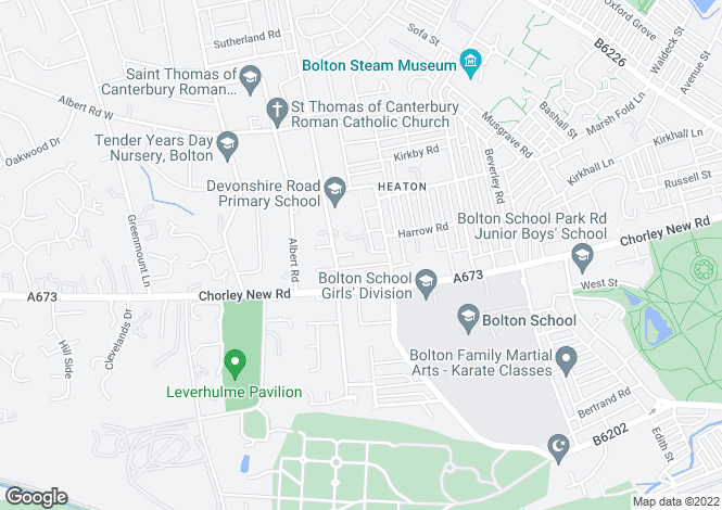Map for Thomasson Court, Heaton, Bolton