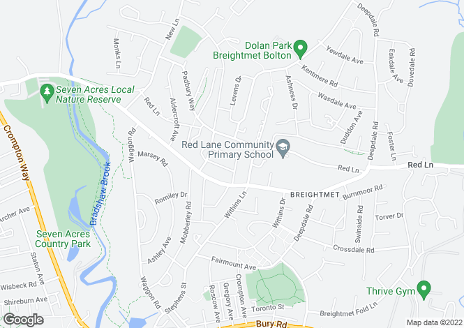 Map for Dorchester Avenue, Breightmet