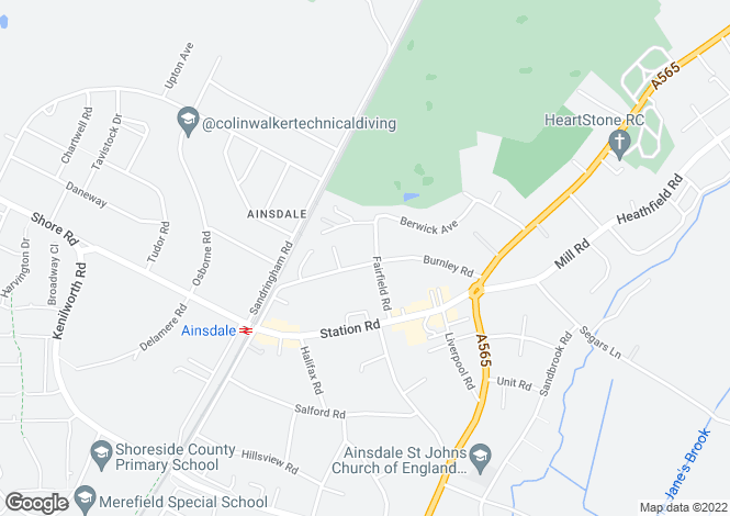 Map for Burnley Road, Ainsdale