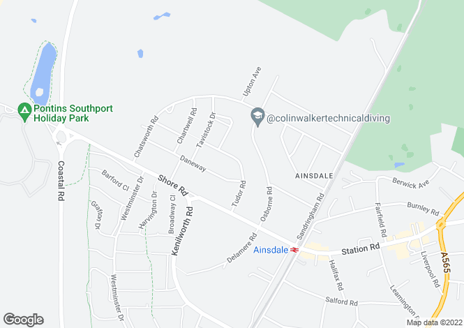 Map for Tudor Road, Ainsdale, Merseyside