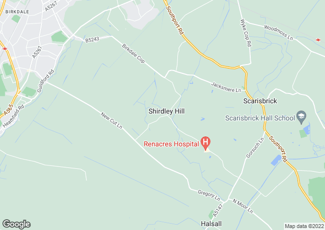 Map for Renacres Lane, Shirdley Hill, Halsall