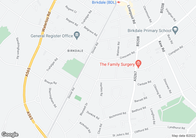 Map for Burlington Road, Birkdale, Southport, Merseyside, PR8 4RX