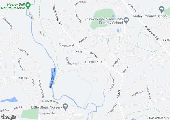 Map for Shawclough, Rochdale