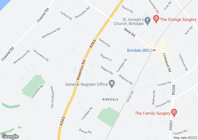 Map for Regent Road, Birkdale, Southport, Merseyside, PR8 2EB