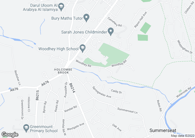 Map for 42 Woodhey Road, Holcombe Brook, Greater Manchester
