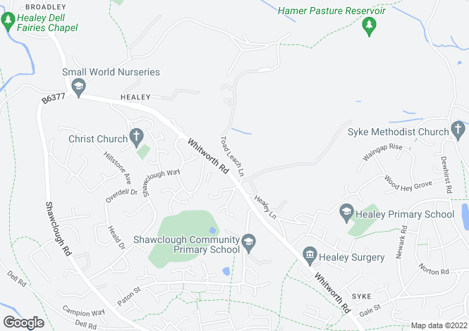 Map for Stoney Heys Farm, Off Road Lane, Healey Stones, Rochdale, OL12