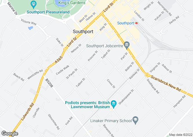 Map for Talbot Street, Southport, PR8 1HS