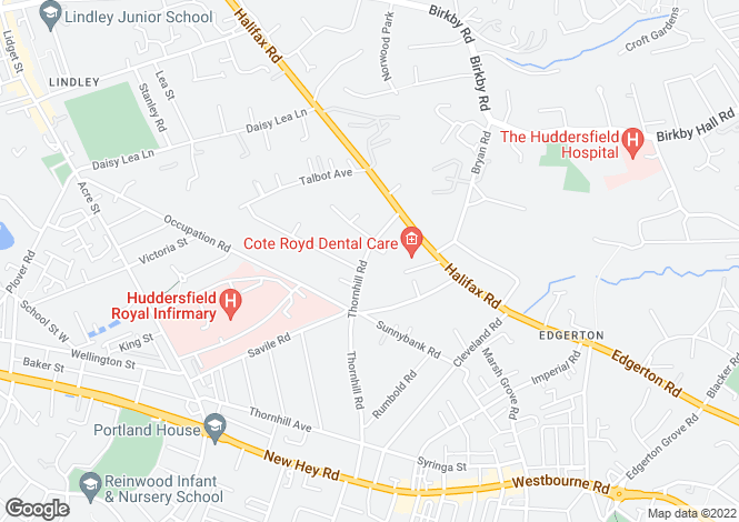 Map for Thornhill Road, Edgerton, Huddersfield, HD3