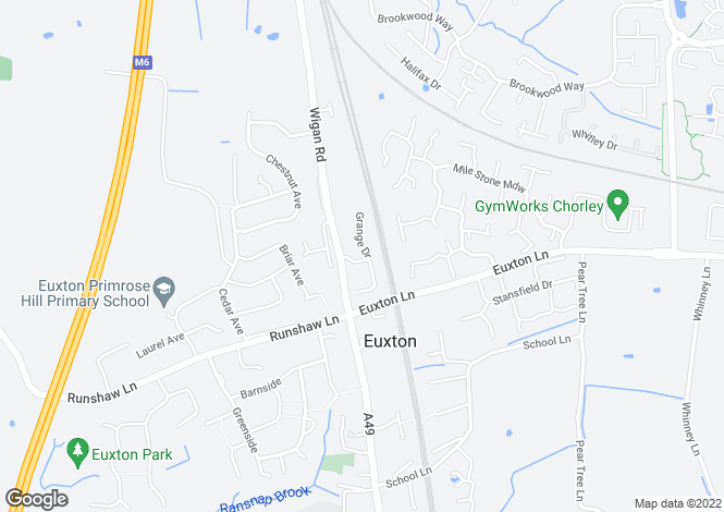 Map for Grange Drive Euxton Chorley