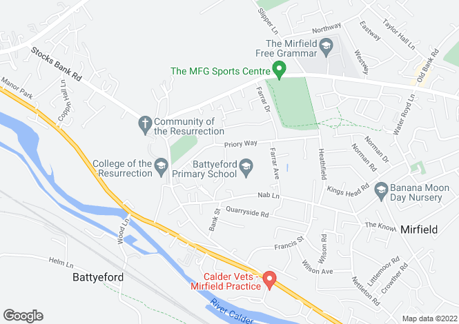 Map for Priory Close, Mirfield