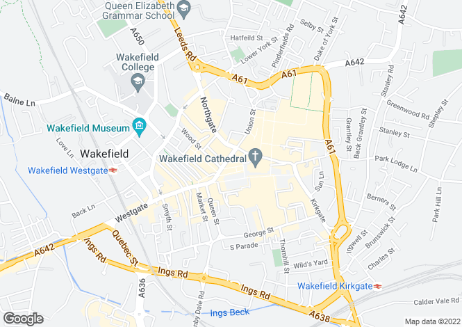 Map for 12 Cross Square, Wakefield, WF1 1PH