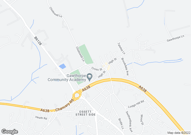 Map for CROSS STREET, GAWTHORPE, OSSETT, WF5 9QU