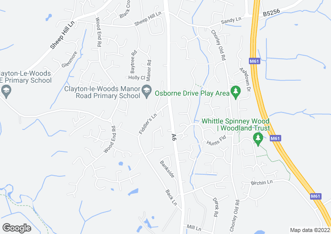 Map for The Heyes, Chorley, Lancashire, PR6