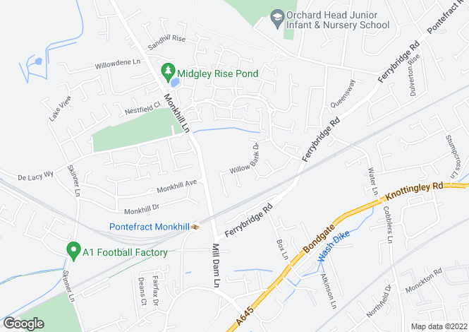 Map for Willow Bank Drive, Pontefract