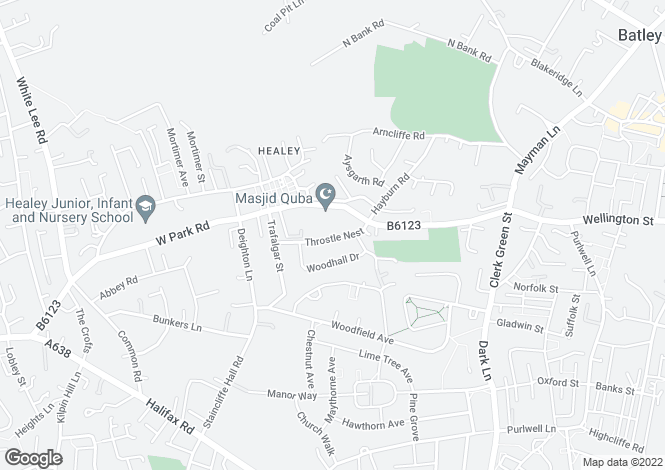 Map for Throstle Nest, BATLEY, West Yorkshire