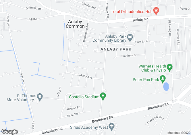 Map for Nursery Close, Anlaby Park Road North, Kingston Upon Hull
