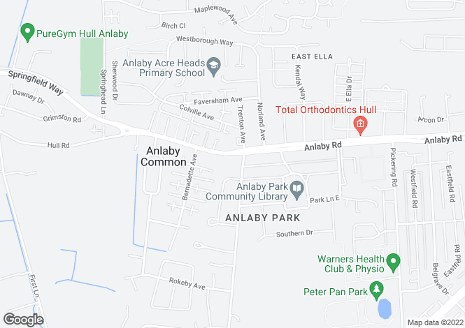Map for Anlaby Road, Hull