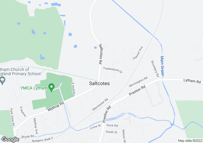 Map for Saltcotes Road, Lytham, Lancashire
