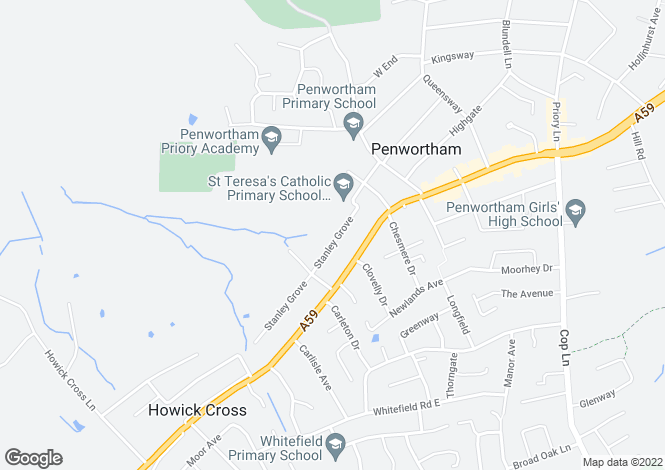 Map for Stanley Grove, Penwortham, PR1 0JH