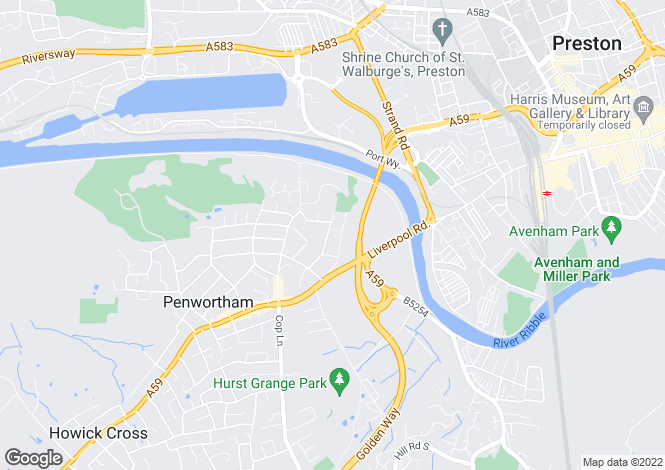 Map for Church Avenue Penwortham Preston