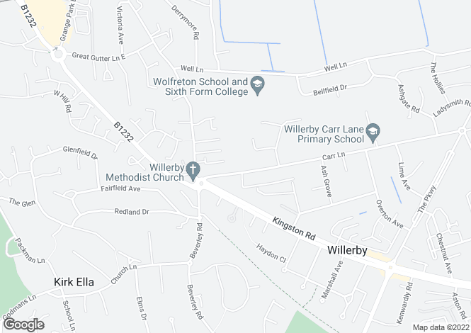Map for 15 Carr Lane, Willerby, Hull, East Yorkshire