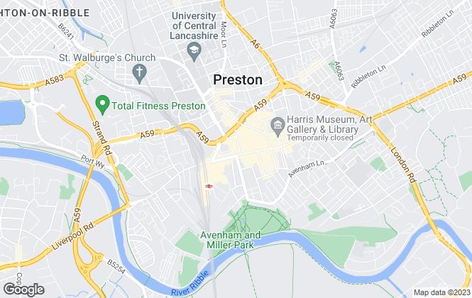 Map for Leftmove Estate Agents, Preston Branch
