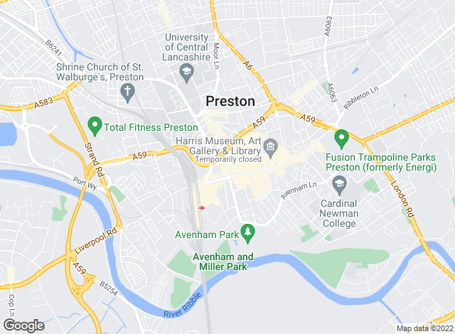 Map for Martin & Co, Preston - Lettings