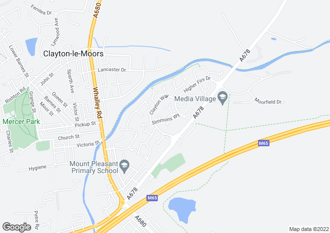 Map for Simmons Way, Clayton Le Moors, Accrington, Lancashire