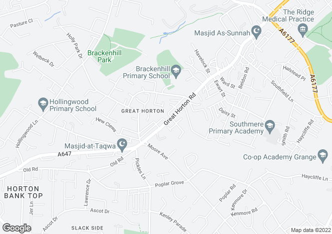 Map for Great Horton Road,