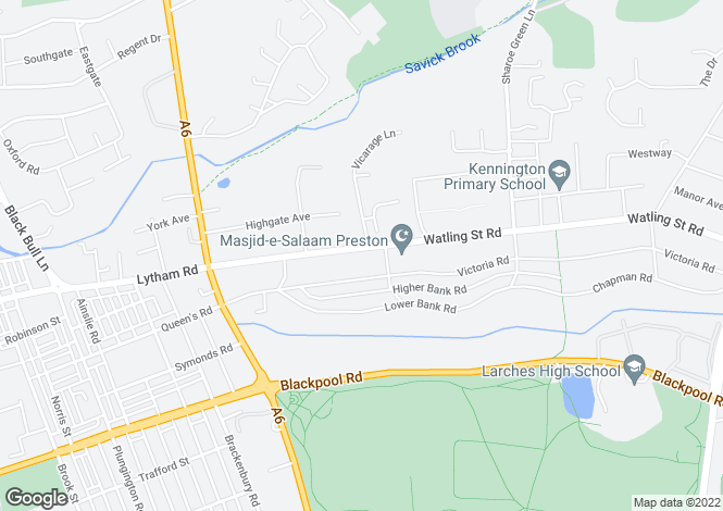 Map for Watling Street Road, Fulwood, Preston PR2