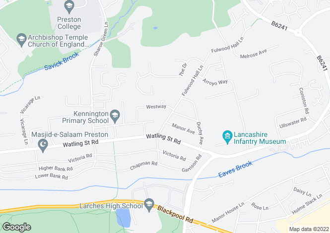 Map for fulwood Hall Lane Fulwood Preston