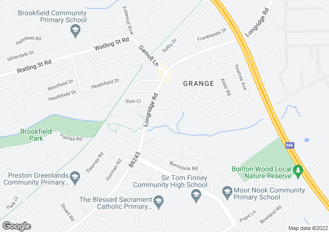 Map for Sherbourne Lodge Grange Avenue, Ribbleton, Preston, PR2