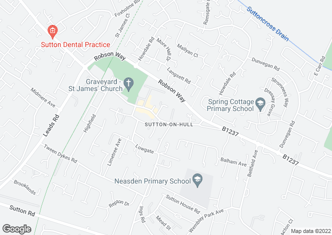 Map for Church Street, Sutton-On-Hull, Hull, HU7