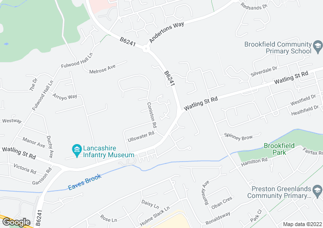 Map for Lucerne Road, Fulwood, Preston, PR2
