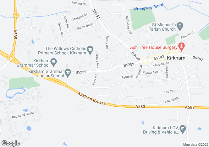 Map for Ribby Road, Kirkham, Preston