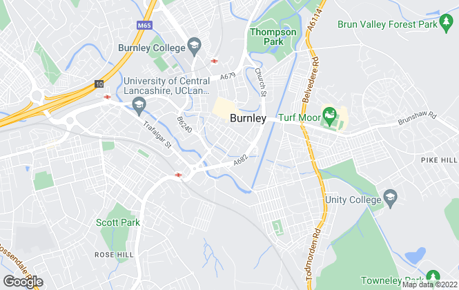 Map for John W Dinsdale, Burnley