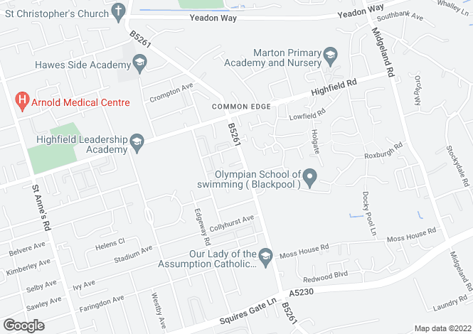 Map for 63 COMMON EDGE ROAD , BLACKPOOL, LANCASHIRE, FY4 5AX
