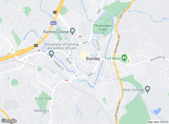 Map for Bridgfords, Burnley