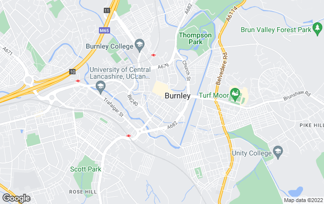 Map for Bridgfords Lettings, Burnley
