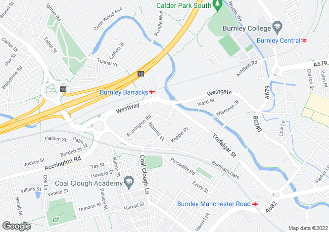Map for Trinity Towers, Burnley