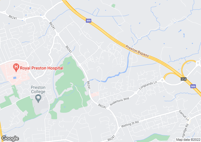 Map for Midgery Lane, Fulwood, Preston, Lancashire
