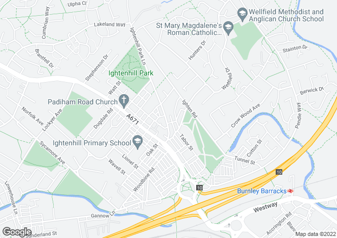 Map for Ightenhill Park Lane,