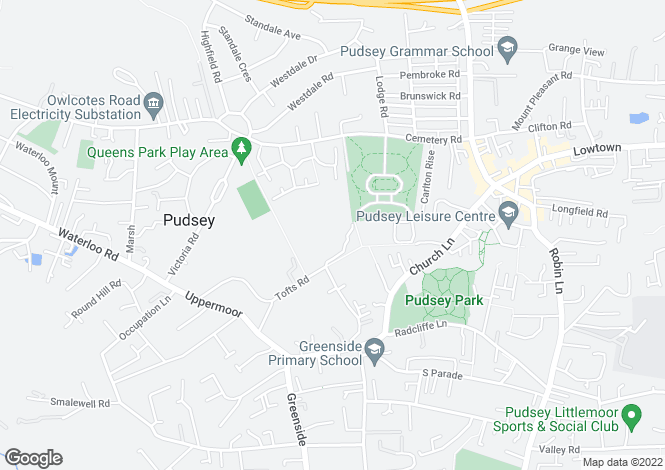 Map for Oliver Croft, Meadowhurst Gardens, Pudsey, LS28