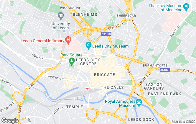 Map for Pure Offices Ltd, Leeds (Broadgate)