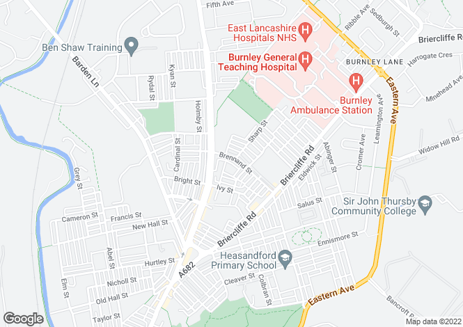 Map for Brennand Street, Burnley