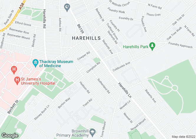 Map for Compton Crescent, Harehills, LS9
