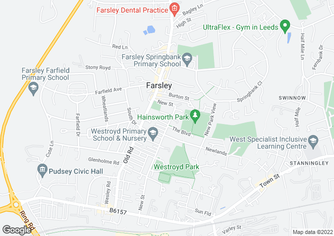 Map for The Old Boys School, Farsley