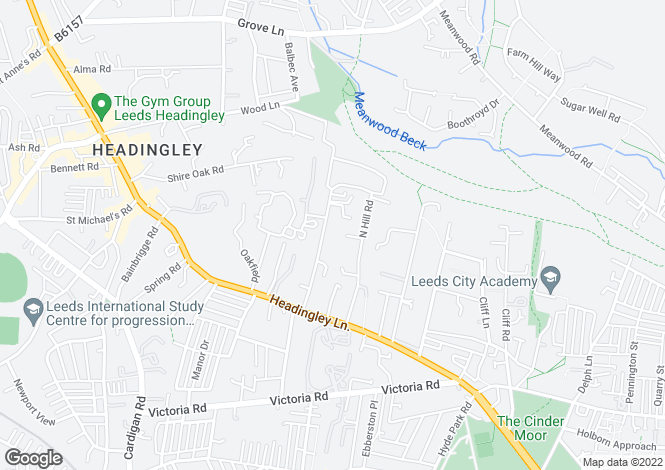 Map for North Grange Road, Headingley, Leeds
